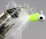 MARABOU CRAPPIE JIG - 6-CARD WHITE/CHARTREUSE/WHITE